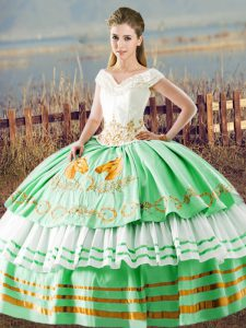 Sumptuous Sleeveless Satin Floor Length Lace Up Quinceanera Dresses in Apple Green with Embroidery and Ruffled Layers