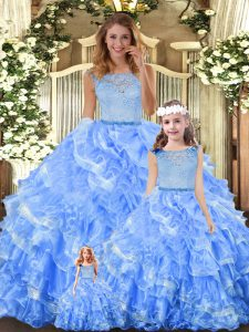 Clearance Sleeveless Zipper Floor Length Lace and Ruffled Layers Quinceanera Dress