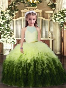 Multi-color High-neck Backless Ruffles Pageant Dress Toddler Sleeveless