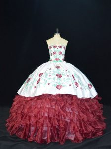 Elegant Ball Gowns Sweet 16 Quinceanera Dress Burgundy Sweetheart Organza Sleeveless Floor Length Lace Up