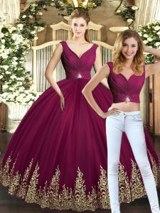 Sleeveless Floor Length Beading and Appliques Backless Sweet 16 Dresses with Burgundy