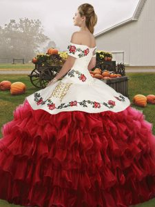Superior Floor Length Wine Red Sweet 16 Dresses Off The Shoulder Sleeveless Lace Up