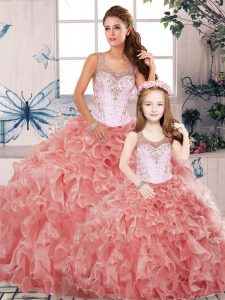 Watermelon Red Ball Gowns Beading and Ruffles Quinceanera Dress Clasp Handle Organza Sleeveless Floor Length