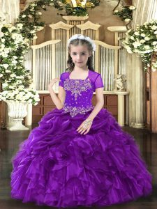 Purple Sleeveless Floor Length Beading and Ruffles Lace Up Little Girl Pageant Dress