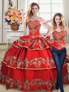Free and Easy Sleeveless Embroidery and Ruffled Layers Lace Up Sweet 16 Dress