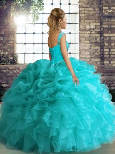 Lavender Lace Up Quinceanera Gowns Beading and Ruffles and Pick Ups Sleeveless Floor Length