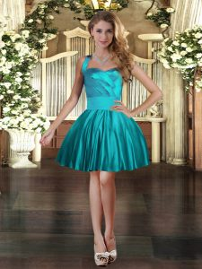 Clearance Teal Three Pieces Halter Top Sleeveless Satin Floor Length Lace Up Ruching Ball Gown Prom Dress