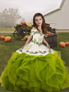Custom Design Olive Green Lace Up Straps Embroidery and Ruffles Kids Pageant Dress Organza Sleeveless