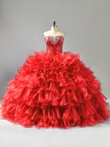 Fashion Red Sleeveless Beading and Ruffles and Sequins Floor Length Sweet 16 Dress