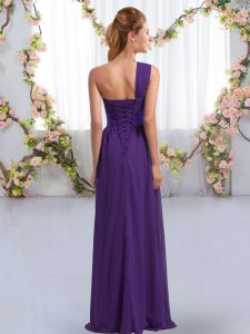 Chiffon Sleeveless Floor Length Quinceanera Court of Honor Dress and Ruching