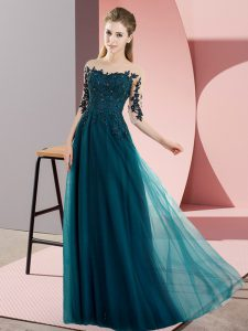 Peacock Green Chiffon Lace Up Quinceanera Court Dresses Half Sleeves Floor Length Beading and Lace