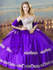 High Class Eggplant Purple Sweet 16 Dresses Sweet 16 and Quinceanera with Beading and Embroidery Sweetheart Sleeveless Lace Up