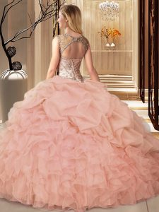 Pink Lace Up Scoop Beading and Ruffles and Pick Ups Sweet 16 Quinceanera Dress Organza Sleeveless