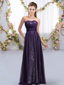 Suitable Sleeveless Floor Length Sequins Lace Up Damas Dress with Dark Purple