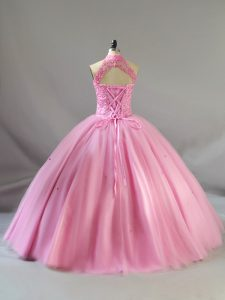 Noble Ball Gowns Quinceanera Dress Baby Pink Halter Top Tulle Sleeveless Floor Length Lace Up