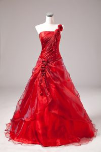 Red Ball Gowns One Shoulder Sleeveless Floor Length Lace Up Beading Quinceanera Gowns