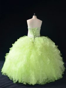 Yellow Green Sleeveless Floor Length Beading and Ruffles Lace Up Ball Gown Prom Dress