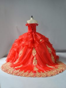 Noble Red Sleeveless Organza Court Train Lace Up Sweet 16 Dresses for Sweet 16 and Quinceanera