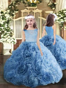 Floor Length Zipper Pageant Gowns For Girls Blue for Party and Military Ball and Wedding Party with Beading