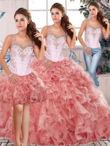 Watermelon Red Three Pieces Scoop Sleeveless Organza Floor Length Clasp Handle Beading and Ruffles Quinceanera Dresses