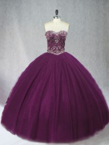 Decent Tulle Sweetheart Sleeveless Lace Up Beading Sweet 16 Dresses in Dark Purple