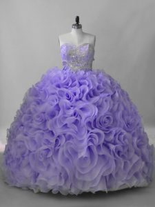 Lavender Sweetheart Neckline Beading 15 Quinceanera Dress Sleeveless Lace Up
