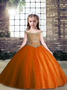 Off The Shoulder Sleeveless Lace Up Kids Formal Wear Rust Red Tulle