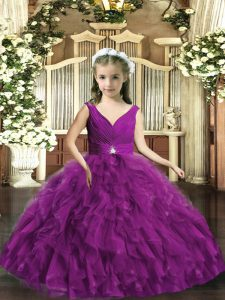Eggplant Purple Sleeveless Organza Backless Little Girl Pageant Gowns for Party and Wedding Party