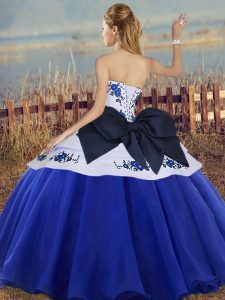 Super Floor Length White And Purple Sweet 16 Quinceanera Dress Tulle Sleeveless Embroidery and Bowknot