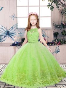 Yellow Green Ball Gowns Lace and Appliques Pageant Gowns For Girls Backless Tulle Sleeveless Floor Length