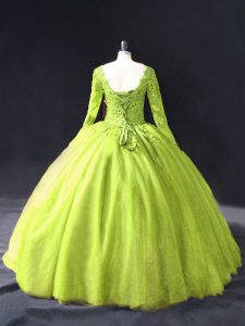 Dynamic Yellow Green Long Sleeves Lace and Appliques Floor Length Quince Ball Gowns
