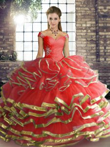 Best Floor Length Coral Red Quinceanera Gowns Off The Shoulder Sleeveless Lace Up