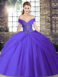 Enchanting Beading and Pick Ups 15th Birthday Dress Purple Lace Up Sleeveless Brush Train