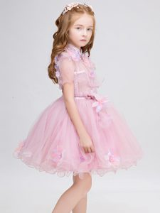 Luxurious Appliques Flower Girl Dresses Baby Pink Zipper Short Sleeves Mini Length