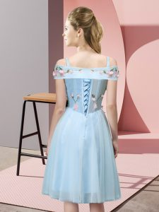 Knee Length Aqua Blue Quinceanera Court of Honor Dress Tulle Short Sleeves Appliques