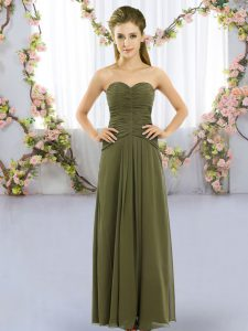 Custom Made Olive Green Chiffon Lace Up Quinceanera Court Dresses Sleeveless Floor Length Ruching
