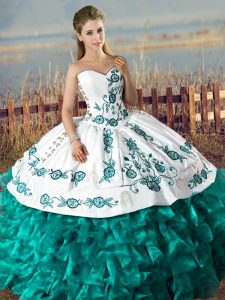 Custom Made Teal Sweetheart Lace Up Embroidery and Ruffles Sweet 16 Dress Sleeveless