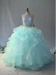 Sleeveless Backless Floor Length Beading and Ruffles Sweet 16 Dresses