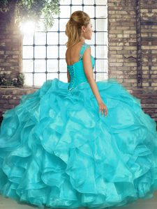 Sleeveless Organza Lace Up Quinceanera Gowns for Military Ball and Sweet 16 and Quinceanera