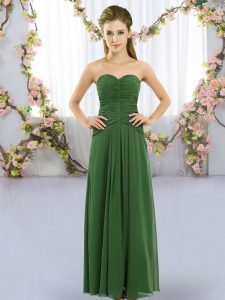 Green Empire Sweetheart Sleeveless Chiffon Floor Length Lace Up Ruching Dama Dress for Quinceanera