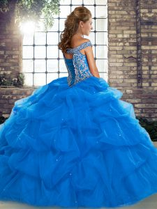 Fashionable Tulle Off The Shoulder Sleeveless Brush Train Lace Up Beading and Pick Ups Quinceanera Gown in Yellow Green