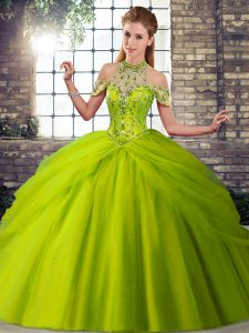 Enchanting Olive Green Sleeveless Brush Train Beading and Pick Ups Quinceanera Gown