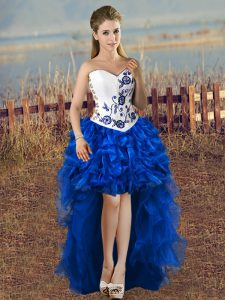 Luxury Sweetheart Sleeveless Lace Up Quinceanera Dress Blue And White Satin and Organza