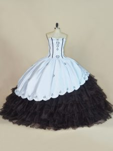 Custom Design Satin and Organza Sleeveless Floor Length Vestidos de Quinceanera and Embroidery and Ruffled Layers