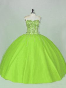 Tulle Sweetheart Sleeveless Lace Up Beading Quinceanera Gown in