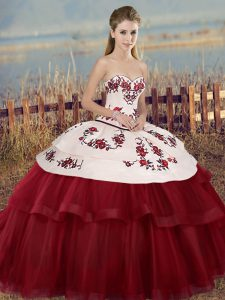 Gorgeous White And Red Sweetheart Lace Up Embroidery and Bowknot Sweet 16 Quinceanera Dress Sleeveless