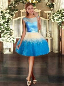 Fashionable Multi-color Organza Backless Scoop Sleeveless Floor Length Vestidos de Quinceanera Lace and Ruffles
