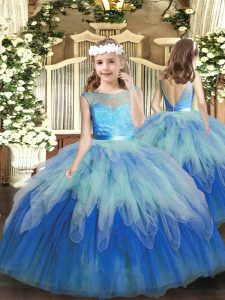 Floor Length Backless Little Girls Pageant Dress Multi-color for Party and Wedding Party with Lace and Ruffles
