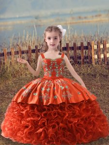 Custom Design Orange Red Lace Up Little Girl Pageant Dress Embroidery Sleeveless Sweep Train
