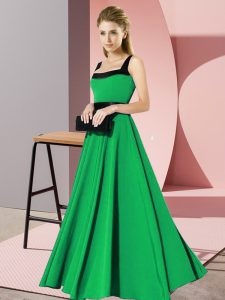 Attractive Floor Length Green Damas Dress Square Sleeveless Zipper